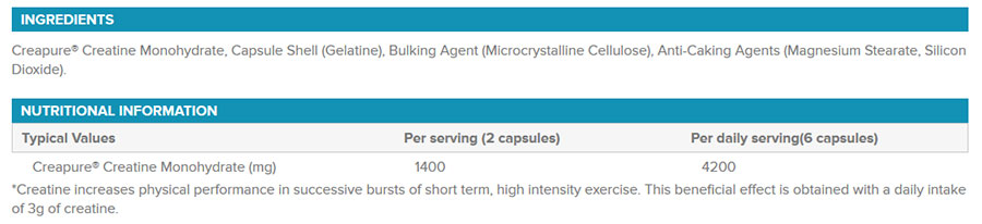 phd-creapure-cpasules-creatine-nutritional information